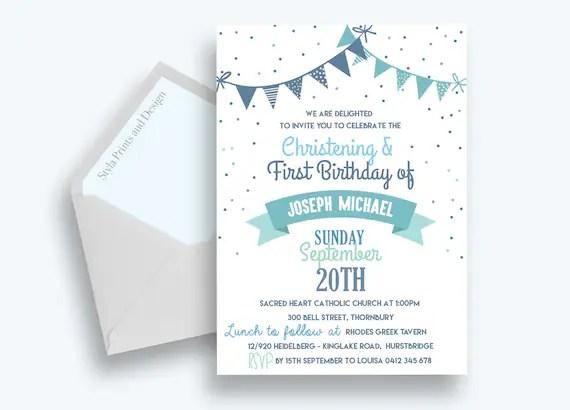 joint baptism birthday invites christening blue boys invitation first birthday polka dot bunting digital file diy print
