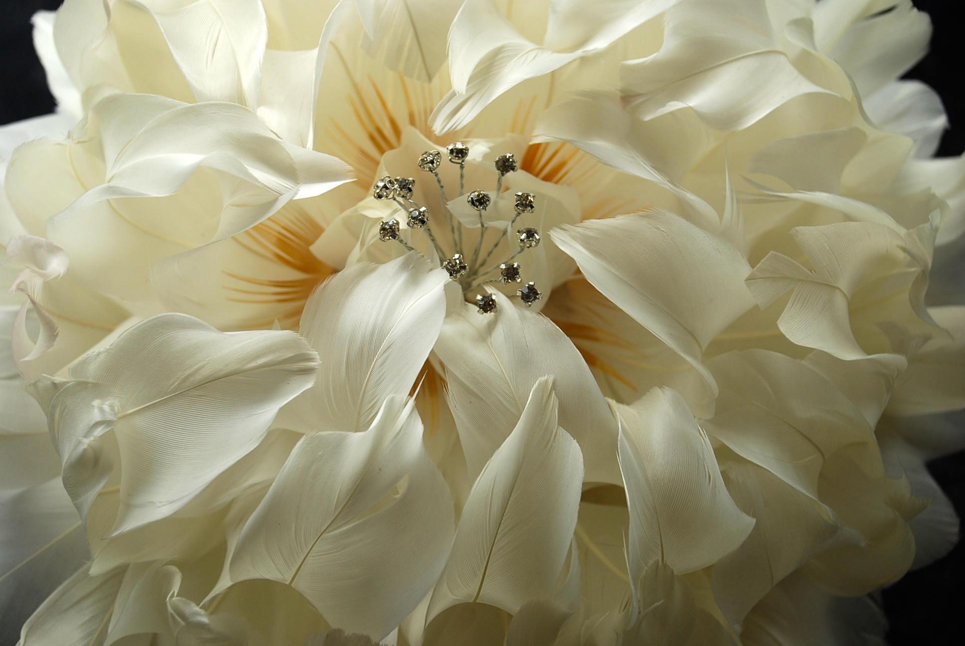 GIANT Peony Wedding Bouquet, Ivory Feather Flower, Bridal