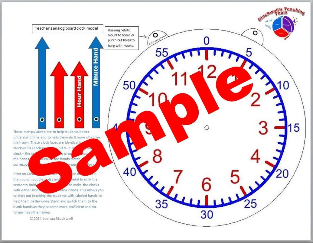 Clock Paper Manipulatives Time Worksheet Bundle Part 1
