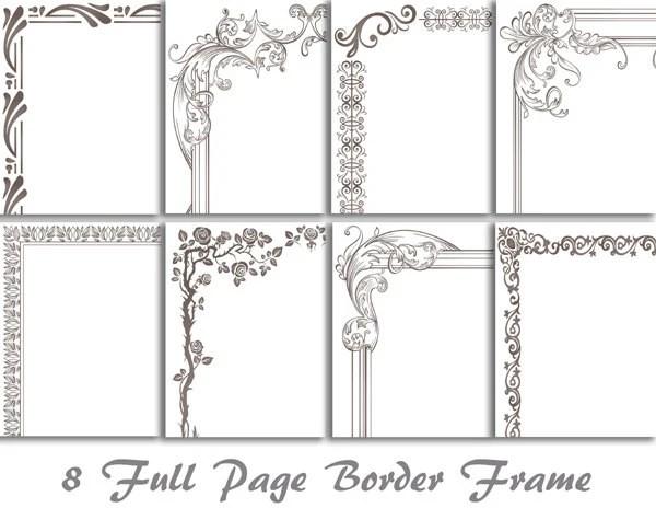 8 Gris Numerique Pleine Page Bordure Clip Art Pleine Page Etsy