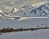 """Mountains, Glaciers, and Moraines - 8""""x12"""" Signed Metal Print"""