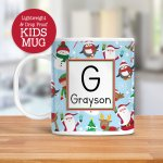 Kids Personalized Christmas Mug With Santa Snowman Elf Dishwasher Safe Lightweight Unbreakable Cup Kids Bpa Free Plastic Mug For Toddler