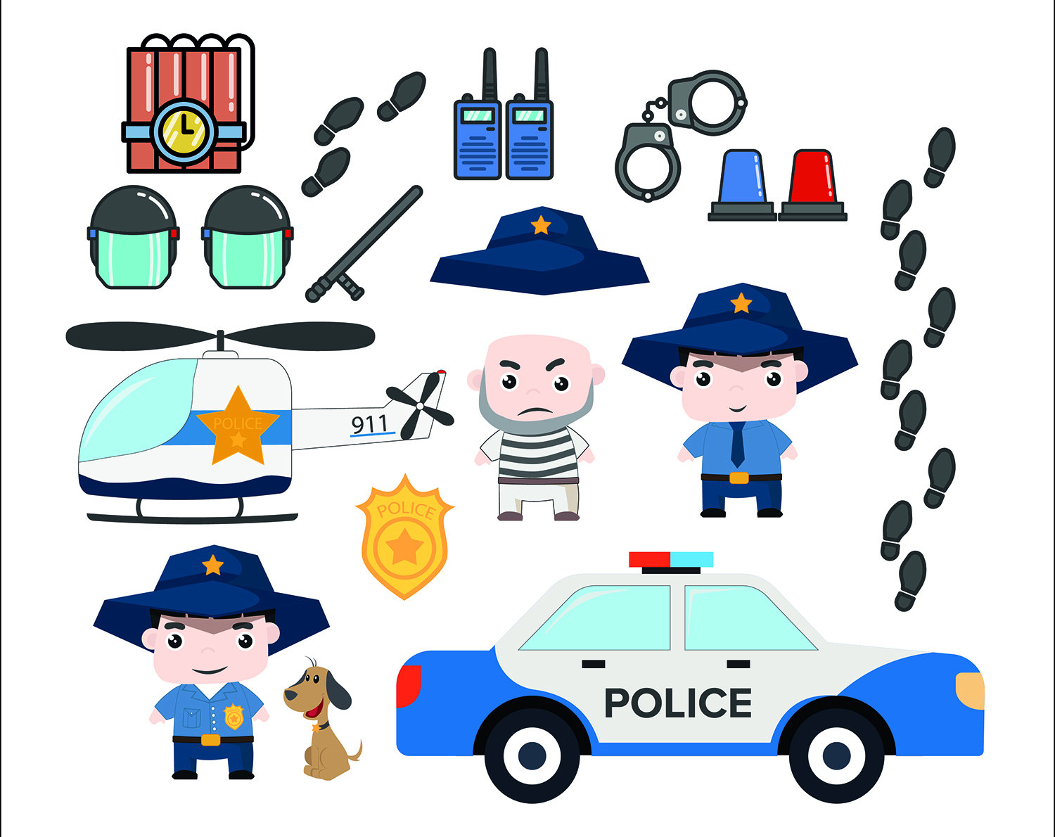 Police Clipart Digital Printable Pictures Police