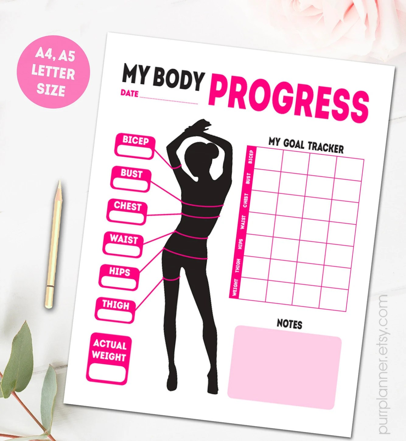 Printable Body Measurements Fitness Goal Tracker Weight