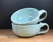 Soup Bowl with handle - robin's egg blue