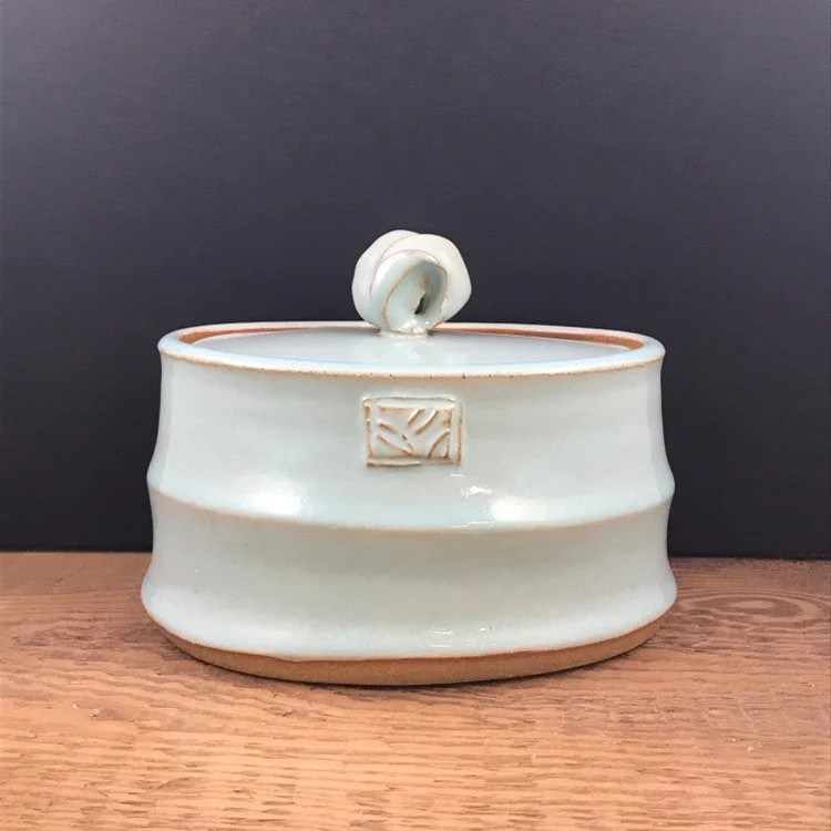 Pale blue oval jar