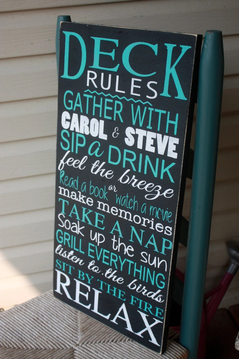 Deck rules sign patio rules personalized outdoor Wooden image 2