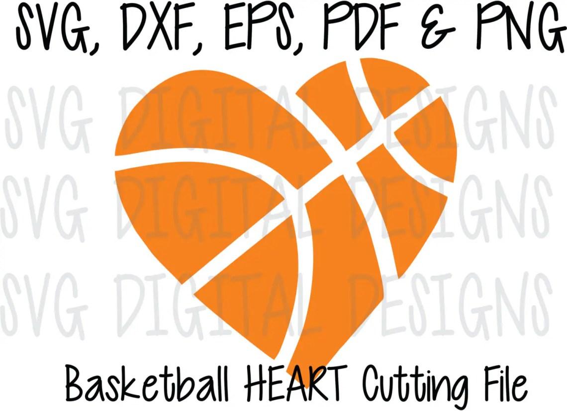 Download Basketball Heart SVG Cut File Design Sports Clipart ...