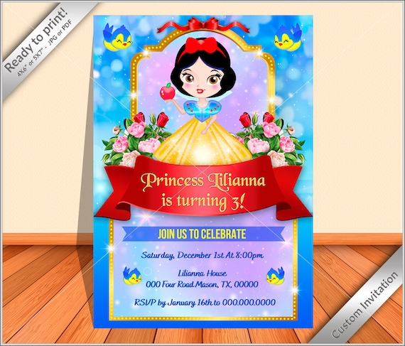 50 Off Personalized Snow White Birthday Party Invitation Digital Snow White Princess Birthday Party Invite Flyer New Design 2021 By Funnyparty Catch My Party