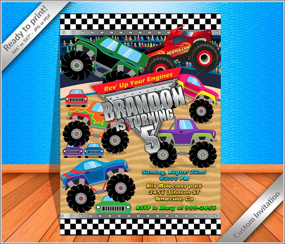 50 off sale monster truck invitation