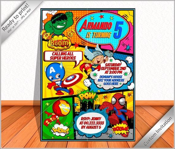 personalized invitation avengers comic