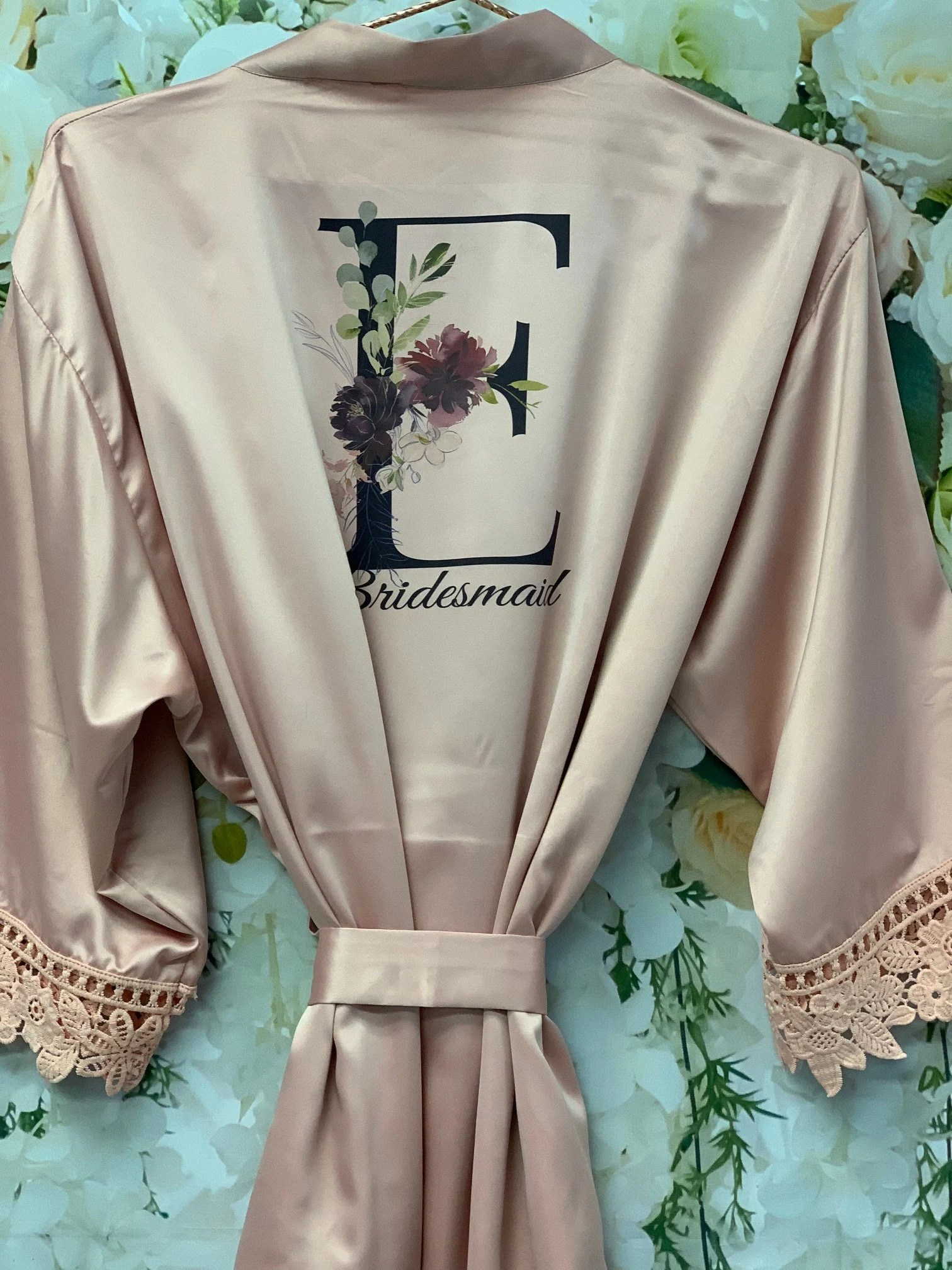 Bridesmaid Robes Bridal Robes Satin Dressing Gown Black Floral Initial