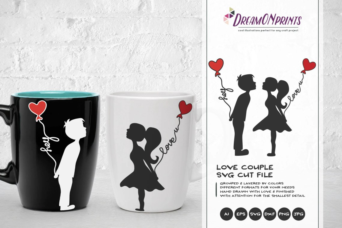 Download Love Couple SVG, Kissing Boy and Girl Svg Love Svg, First ...