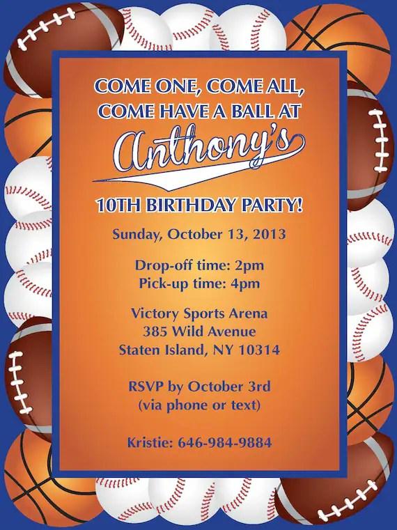 Sports Balls Themed Birthday Party Invitation Etsy