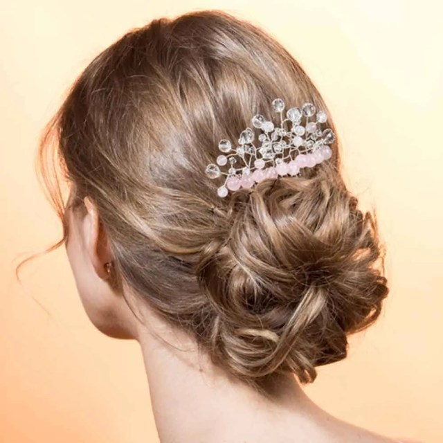 wedding hair comb ceremony with rock crystal and rose silver quartz pink transparent romantic classic