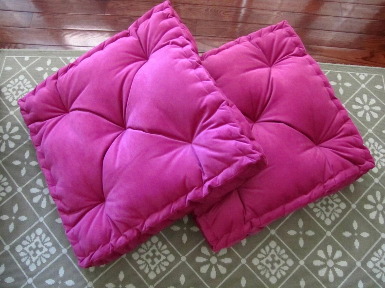 velvet floor pillow fuchsia pink tufted floor cushion with french mattress quilting stuffed 24x24x4 floor pouf custom floor seating