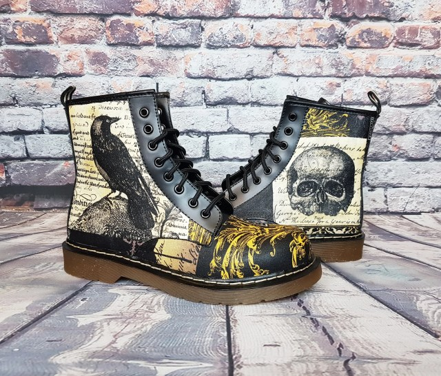 Raven/crow, Skull pattern steampunk boots by Rock Your Sole.