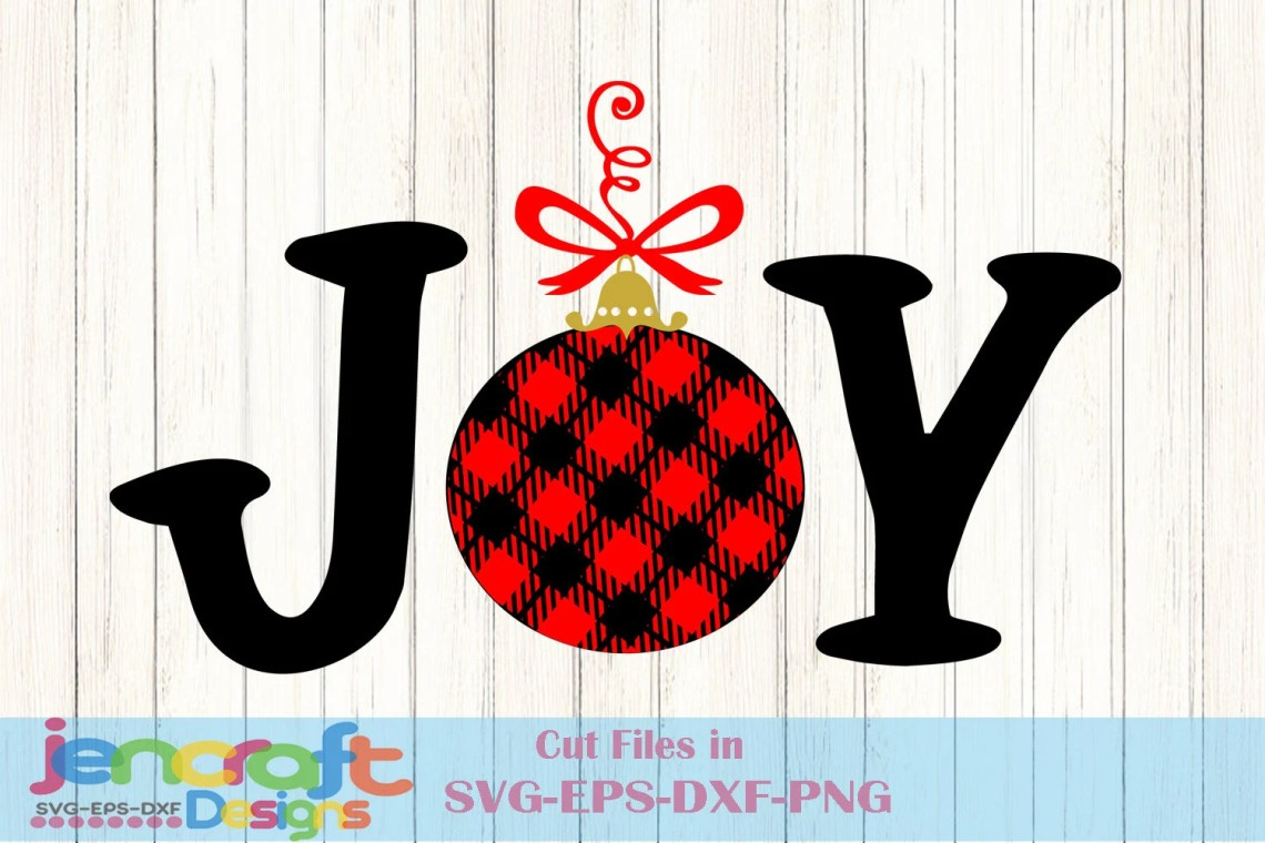 Download Christmas SVG JOY Buffalo Plaid Holiday Design, Ornament ...