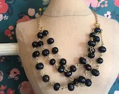 Black pearls bib necklace