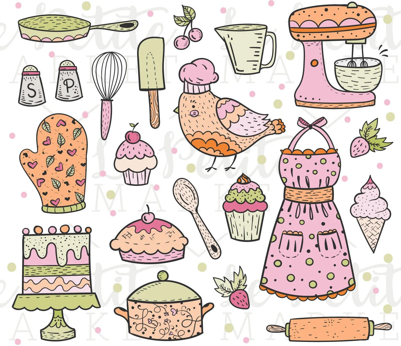 Cute Baking Clip Art Kitchen Clipart Cooking Clipart Bird