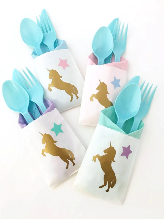 Unicorn party ideas, unicorn cutlery