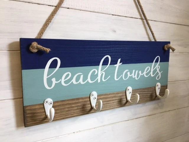 beach towel rack beach decor beach towel hook coastal decor nautical decor towel hooks beach coat hook