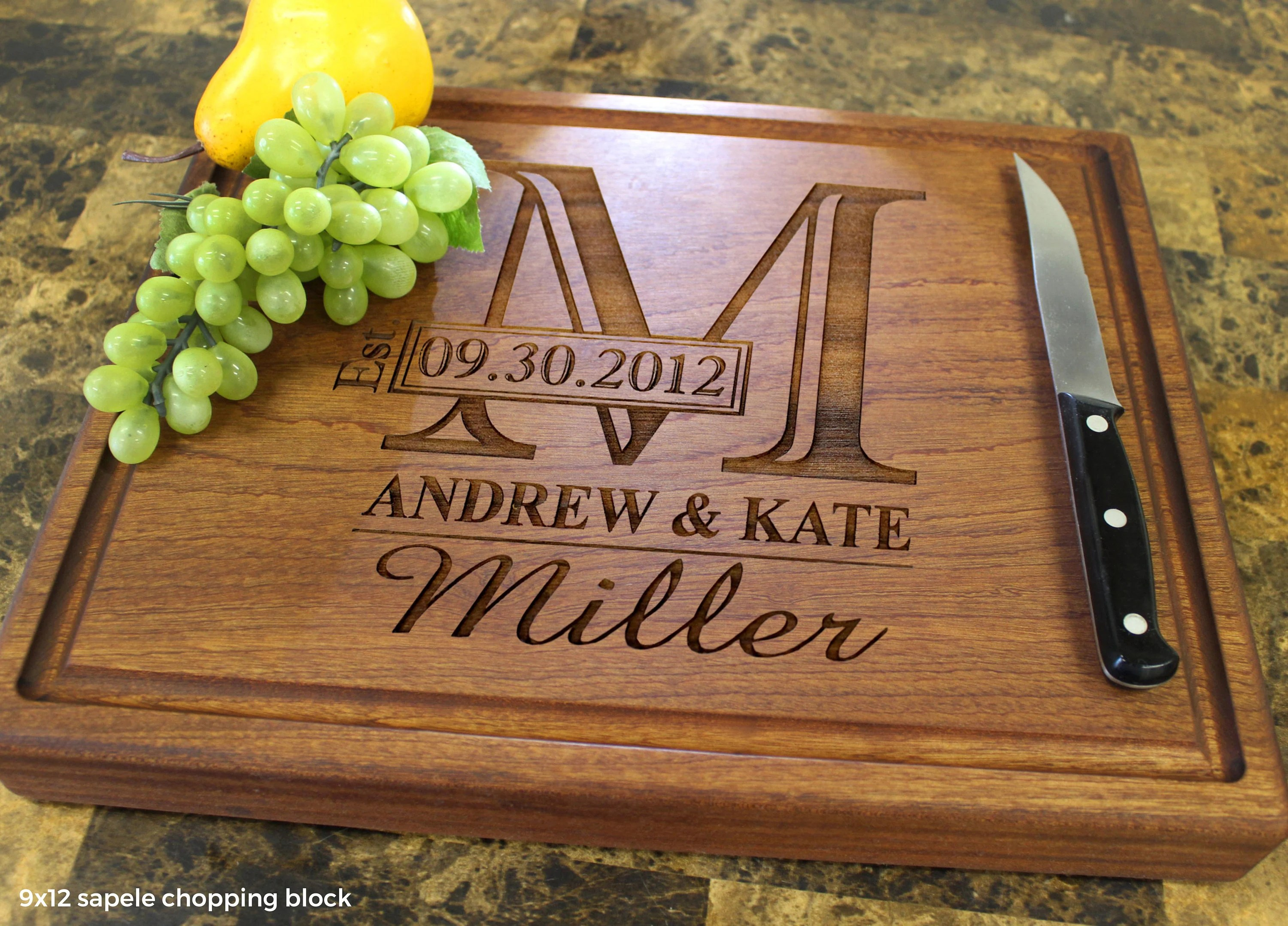 Personalized Monogram Engraved Cutting Board  Wedding image 6