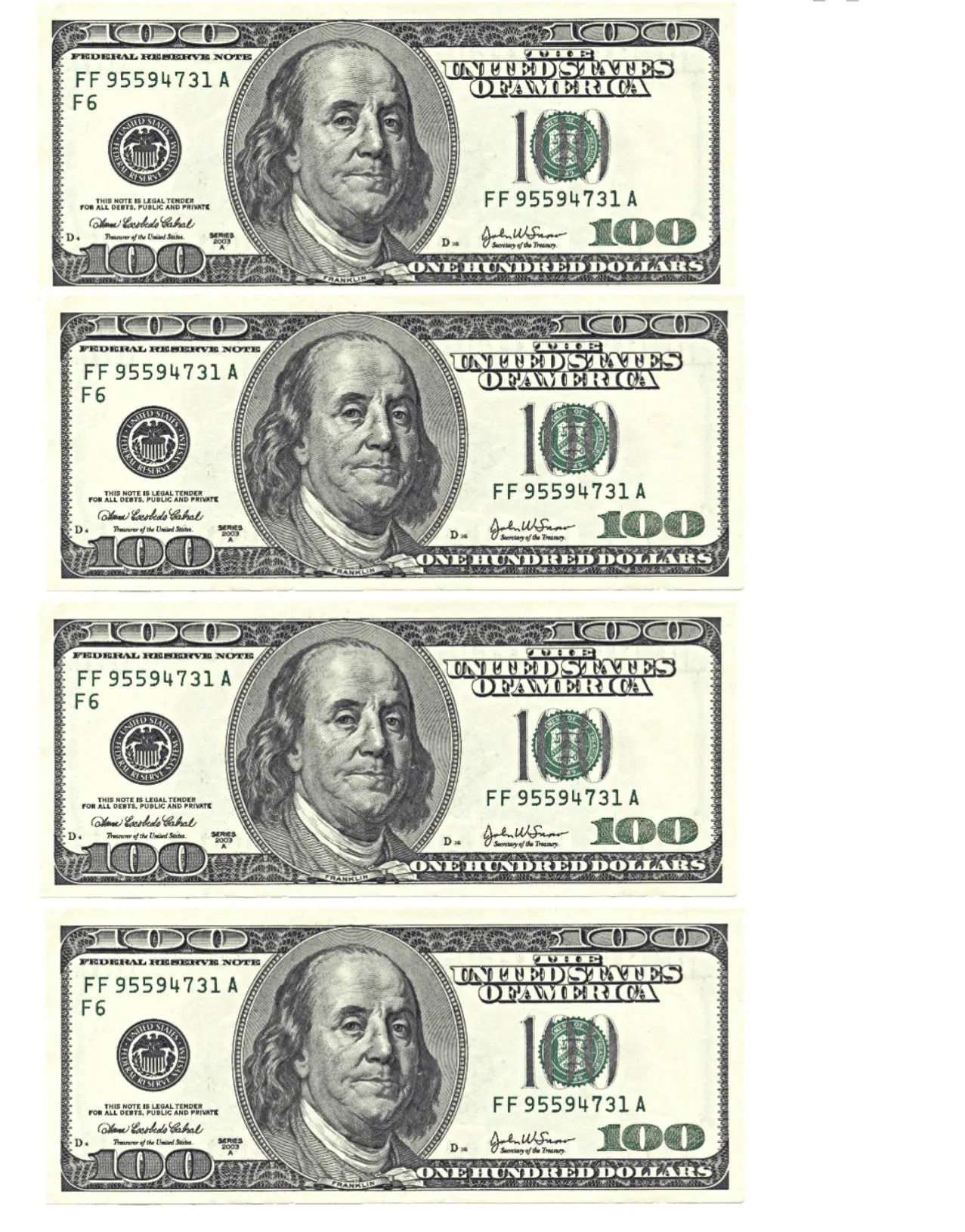 Edible 100 Dollar Bill Cake Toppers