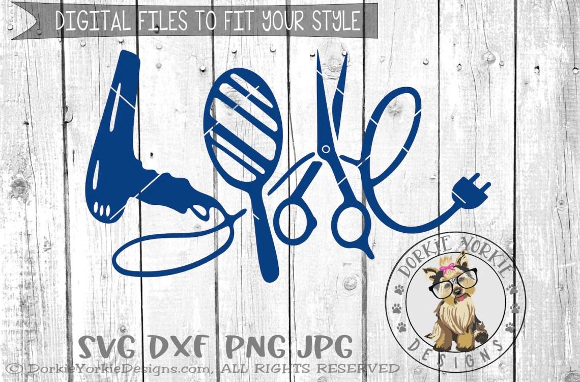 Download Love Hair blow dryer scissors plug hairdresser mirror   Etsy