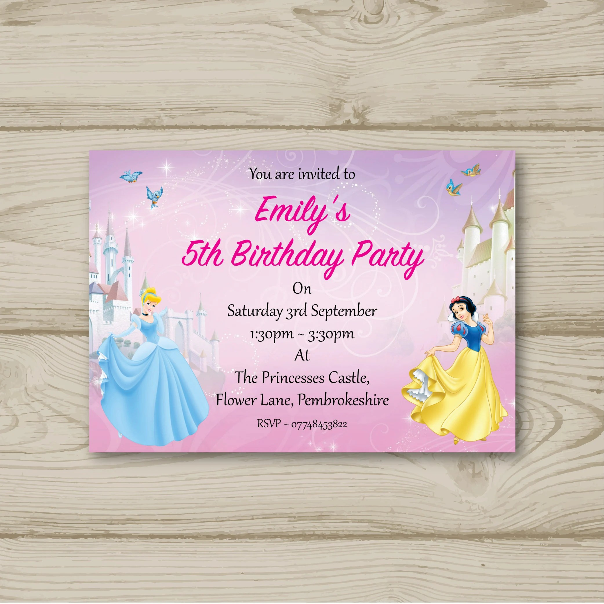 Greeting Cards Party Supply 10 Personalised Birthday Party Invitations Disney Princess Snow White Greeting Cards Invitations