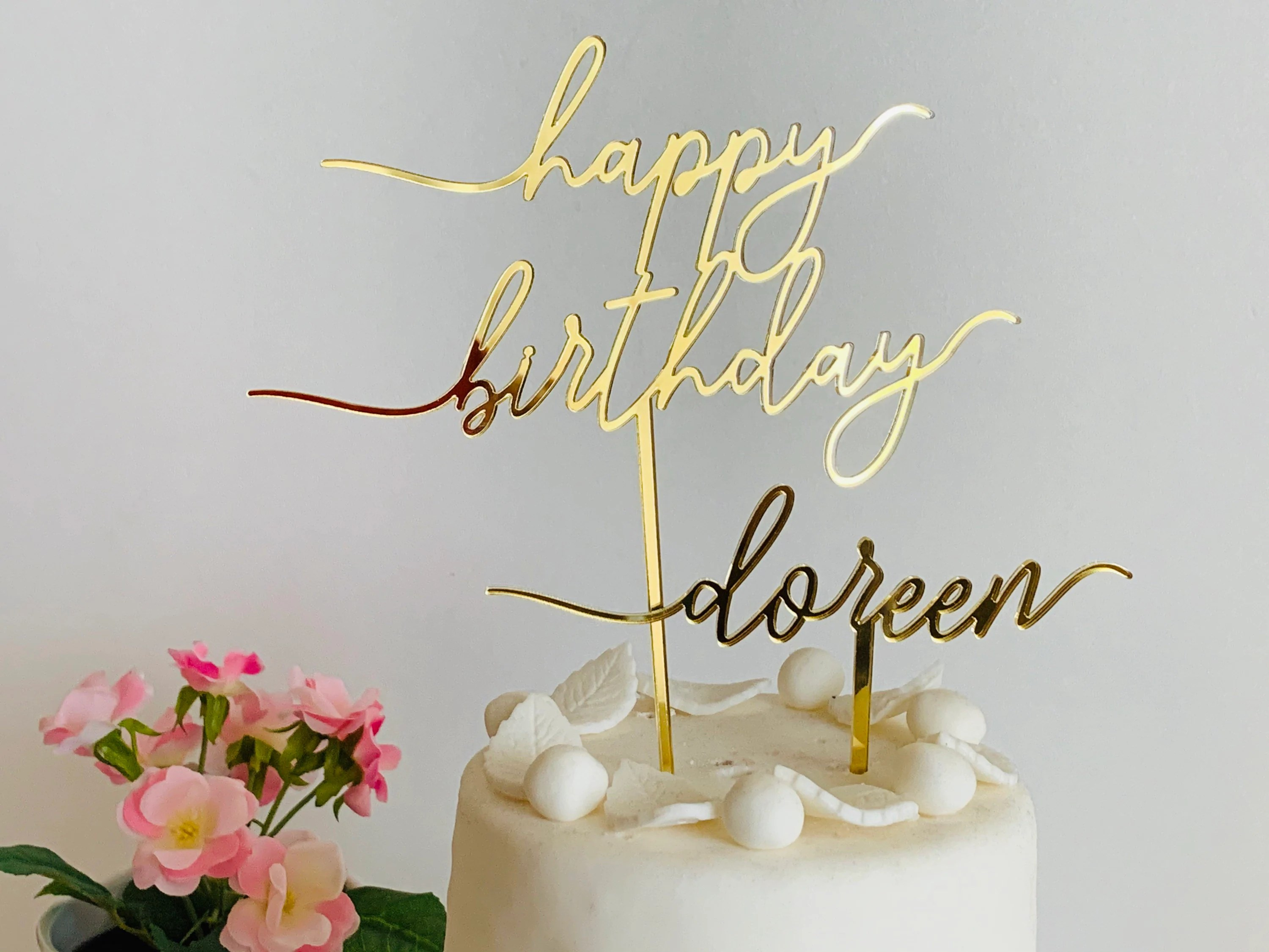 Personalized Name Cake Topper Happy Birthday Sign Custom Name Birthday Party Table Decorations Customized Mirrored Topper Cake Centerpiece