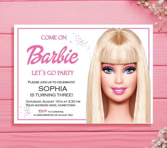barbie invitations barbie birthday invitations barbie party invites barbie doll birthday invitation pink barbie cards barbie girl