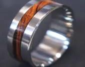 Titanium & Iron wood inlay wedding band,custom ring.