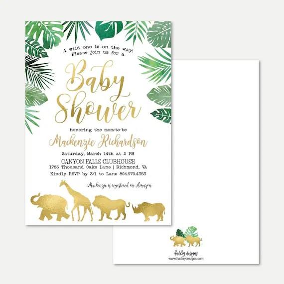 Gold Safari Baby Shower Invitation Template Affordable Baby Shower Invite Editable Invitations Editable Pdf Hadley Designs
