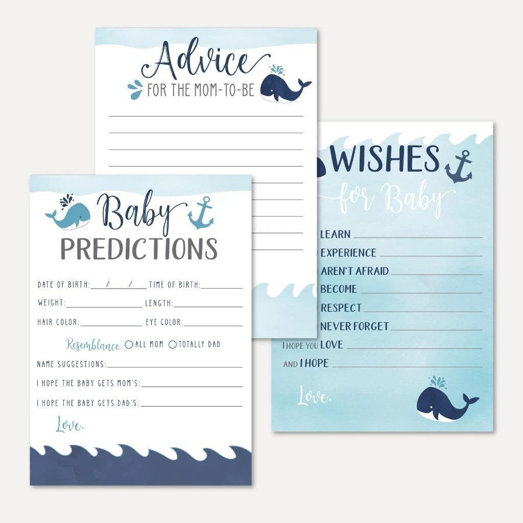 Whale Baby Shower Predictions Advice And Wishes Set Templates Keepsake Bundle Advice Card Oh Baby Well Wishes For Baby