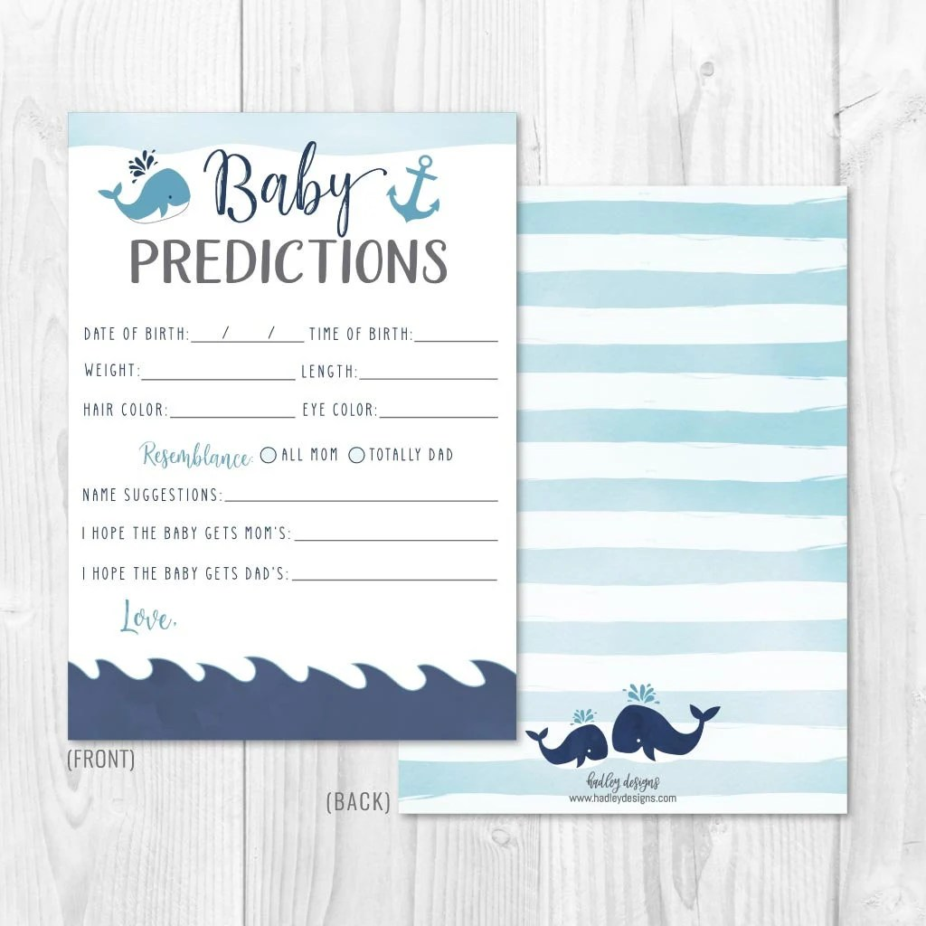 Whale Nautical Baby Shower Predictions Card Template Keepsake Baby Shower Printable Instant Download Prediction Hadley Designs