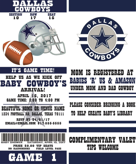 Football Ticket Party Invitation Dallas Cowboys Inspired Etsy
