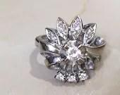 Diamond Flower Cluster Ring, Vintage White Gold Ring...read more