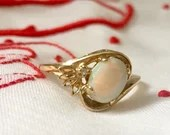 Vintage Opal Ring With Diamond ~ 10K Yellow Gold 1960's...read more
