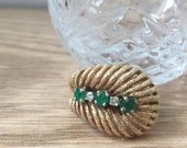 Vintage Emerald And Diamond Ring, 14K Yellow Gold Right...read more