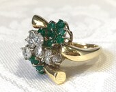 Emerald Rings, Yellow Gold Diamond And Emerald Statement...read more