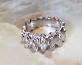 Marquise Diamond Wedding Band, Vintage 14K White Gold...read more