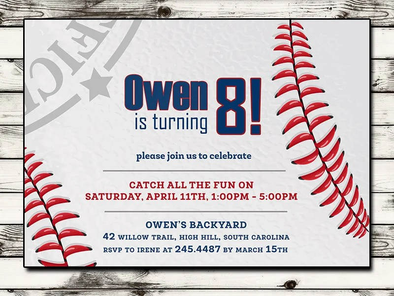 Baseball Invitation Baseball Birthday Invitation Baseball Birthday Party Printable Digital File