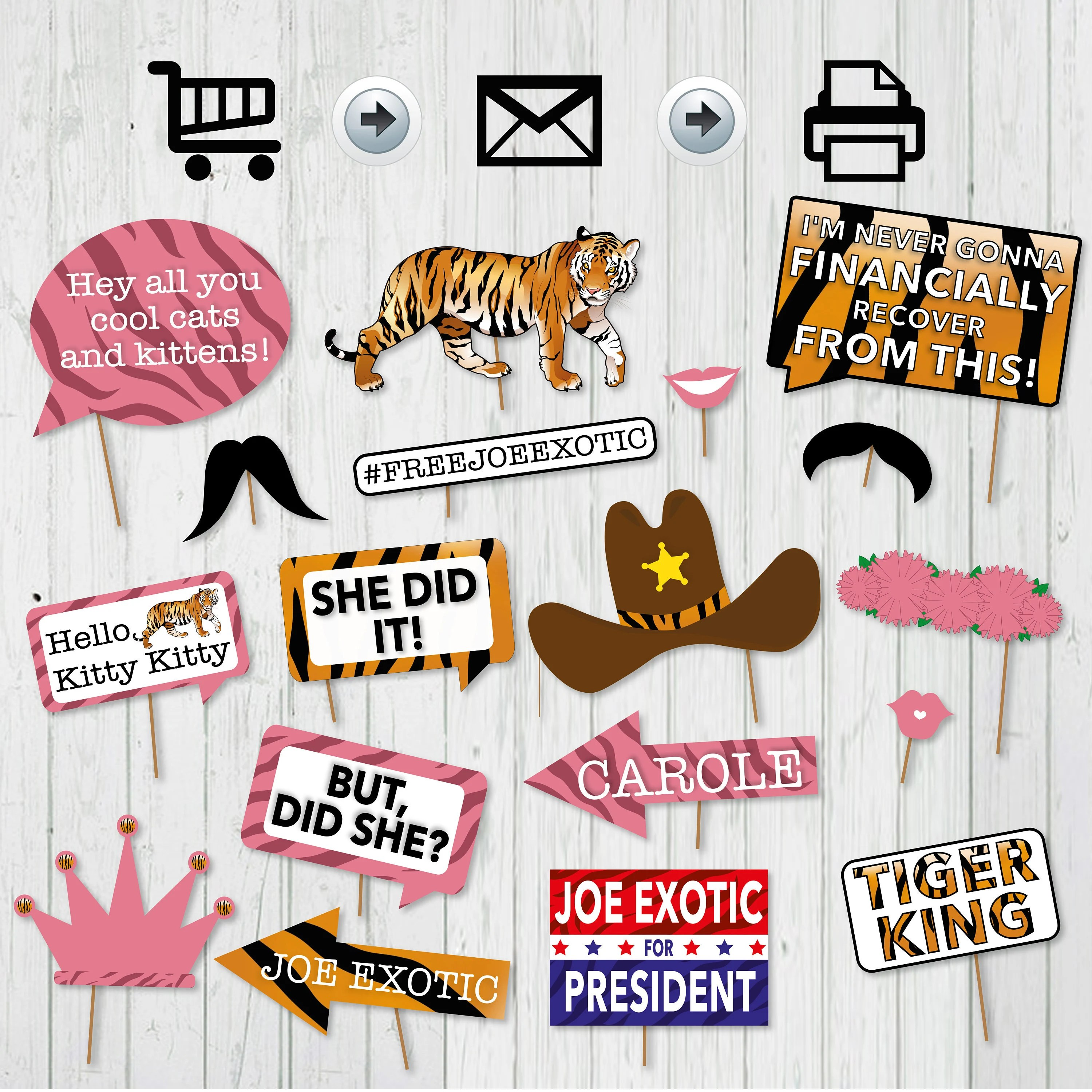 Tiger King Photo Booth Printable Props Tiger King Birthday Party Party Props Tiger King Theme Tv Series Inspired Props Instant Download By Surprise Inc Catch My Party