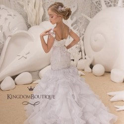 b0776942d78 White Flower Girl Mermaid Style Dress Wedding Party Bridesmaid Mermaid  Style Lace Tulle Flower Girl Dress