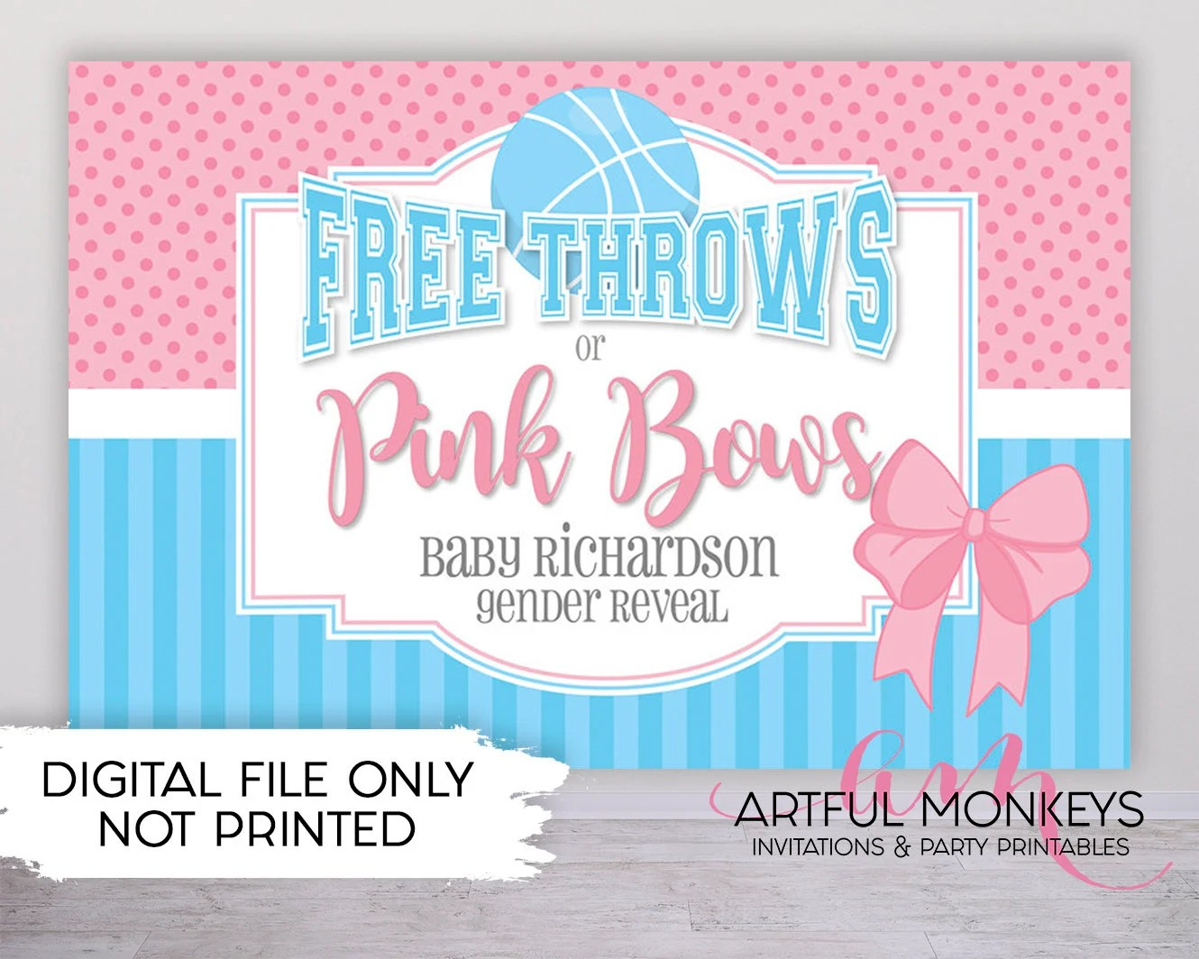 Digital Printable Free Throws Or Pink Bows Gender Reveal Backdrop Party Banner Poster Signage Personalised