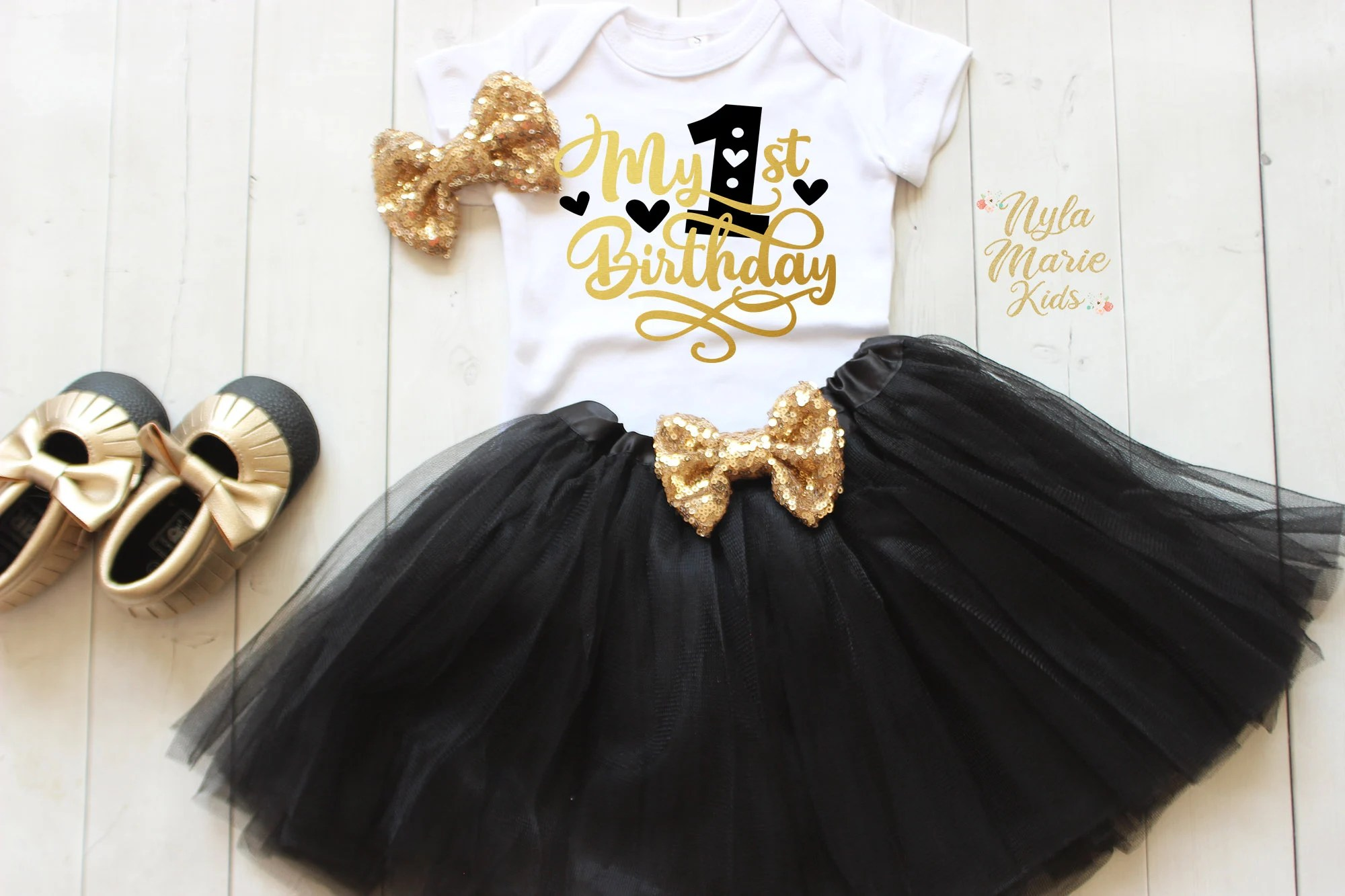 Black And Gold 1st Birthday Outfit One Year Old Birthday Etsy