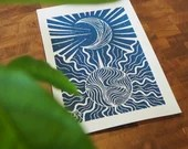 Sun and Moon Handmade Art Print Linocut Blue