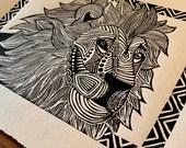 Lion Handmade Art Print Linocut