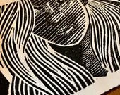 Grunge Girl Handmade Art Print Linocut Woman